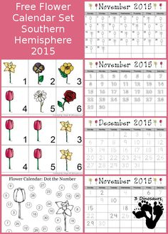 Free 2015 Flower Calendar for the Southern Hemisphere - November, December 2015 - AAB pattern and 6 single leave images - single calendar pages: color the pattern, trace, color, Fill in and trace, and dot the number - 3Dinosaurs.com
