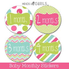 Set of 12 Round Monthly Stickers in Pink, Lime Green and Aqua Photo Props for Baby Girls by HeadsUpGirlsBaby, $10.00