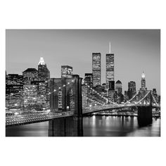 Ideal Decor Manhattan Skyline at Large Night Wall Mural - DM138