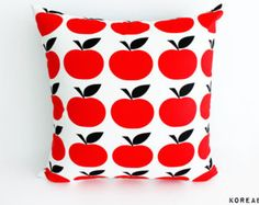 Pillow, Pillow cover, apple fabric pillow, scandinavian pillow, cushion, 16x16, 20x20 - 100% Cotton - Color Red Black - KoreaBacol