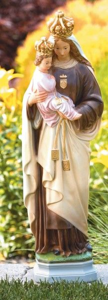 """Our Lady of Mount Carmel Statue 27"""" - Detailed Color Finish"""