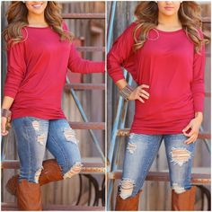 Last one medium - Dolman Tunic Tops in red Rayon dolman sleeve top - price is firm unless bundled.                                                                  95% rayon 5% spandex - Please do not purchase this listing. Comment with size and I will create a new listing for you. Small (2/4) Medium (6/8) Large (10/12) XL (14) Tops