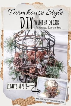 These simple projects will keep your home looking beautiful all winter long! Easy to make, and perfect additions to fill the decoration void after Christmas! After Christmas, Christmas Diy, Scented Pinecones, Dining Room Table Centerpieces, Recycled Jars, Simple Projects, Gold Candles, Christmas Inspiration, Farmhouse Style