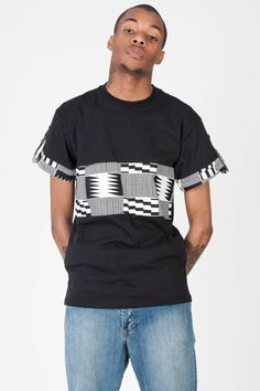 Black t shirt for men. Keep it minimalist with this african print monochrome look.