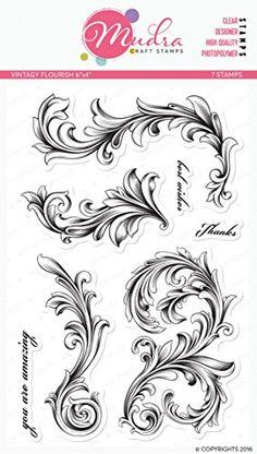 """Mudra Stamps - Vintagy Flourish - 6""""X4"""" MUDRA STAMP http://www.amazon.in/dp/B01DHTHJZY/ref=cm_sw_r_pi_dp_WER-wb1ZCNVYR"""