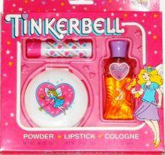 Tinkerbell Cosmetics 80's Lipstick, Compact Powder, perfume.
