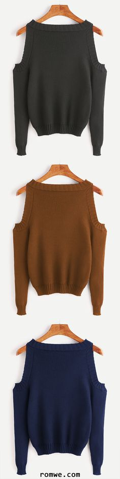 Open Shoulder Long Sleeve Sweater