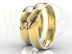 Złote obrączki ślubne z brylantem/ Wedding rings made from yellow gold with diamond/ 2 362PLN #rings #jewellery #love #weddingtime