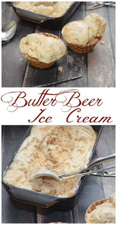 Harry Potter Butter Beer Ice Cream - perfect for your party or just because! Full of buttery goodness with a bit of butterscotch and caramel. Plus, it's no churn style! Bolo Harry Potter, Harry Potter Food, Harry Potter Recipes, Frozen Desserts, Frozen Treats, Beer Recipes, Cooking Recipes, Recipies, Copycat Recipes