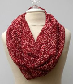 Dark red ethnic Infinity Loop print scarf by PurpleSageDesignz