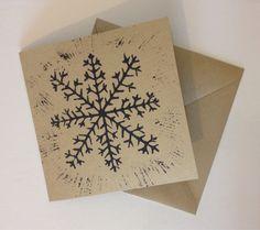 Pack of 5 lino print snowflake christmas card by SnowbirdArtworks
