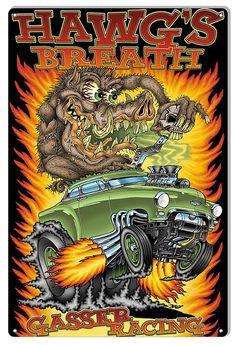 Hot Rod Hawgs Breath Garage Art Metal Sign By Britt Madding 12x18