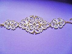 Bracelet  mariage  dentelle   avec perles , dentelle de frivolite, tatting , tatted , bracelet dentelle blanche, bracelet