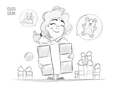 Happy Girl and Big Gift Illustration Sketch