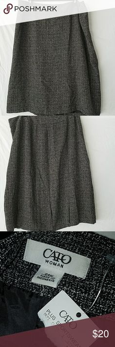 NWT 24W Black and White Skirt NWT 24W Black and White Skirt. Side Zip and Pleated Details on the Back at the Bottom Cato Skirts Midi