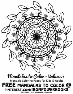 FREE Art Therapy for Kids   FREE Easy Mandala Coloring Pages for Kids and Adults   For a complete set of easy Mandala designs visit http://www.amazon.com/Mandalas-Color-Mandala-Coloring-Adults/dp/1492786675    Please use freely for personal non-commercial use