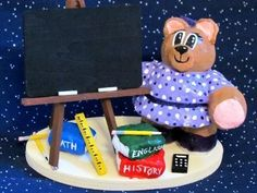 Personalized Teacher Bear gift desk accessory school teacher gift #handmade #etsymnt
