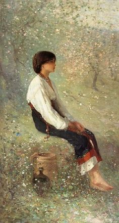The Spring (detail) ~ Nicolae Grigorescu ~ (Romanian: Figure Painting, Painting & Drawing, Illustrations, Illustration Art, Marie Madeleine, Impressionist Art, Pretty Art, Art World, Figurative Art