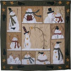 Snowman quilt, I love this! Quilting Projects, Quilting Designs, Sewing Projects, Christmas Sewing, Noel Christmas, Christmas Quilting, Christmas Canvas, Small Quilts, Mini Quilts