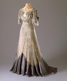 Ephemeral Elegance | Embroidered Organza Evening Dress, ca. 1909-11 via...