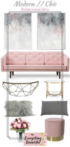 Grey was always a good choice when it comes to neutral accent walls while pink when it comes to warm pastel interiors. This modern chic living room it's ideal for a small place, it's elegant and brings style. The velvet sofa it's a plus for comfort while the luxe furniture for style combined with minimal decorations. You would love to live in this space with your family. #loungeroomdecorations #chiclivingroom #modernlivingroom #pinklivingroom 23//01//2019 by Everything Beautifu