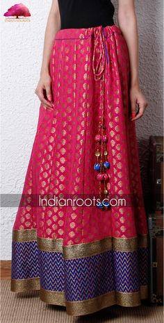 Georgette floor length kalidar skirt with gold floral bootis by Indie Cotton Route on Indianroots.com