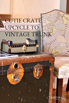 How to Upcycle a Cutie Crate into Vintage Trunk and Stop Your Entryway Clutter - Pink Fortitude, LLC I Heart Organizing, Home Organization Hacks, Backpack Station, Drop Down Desk, Vintage Trunks, Plastic Baskets, Trash To Treasure, Wooden Crates, Diy Storage