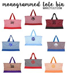 Monogrammed Tote Bin–Perfect as a gift basket or for tailgating! \\ Marleylilly.com