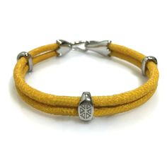 YELLOW STINGRAY BRACELET IN SILVER - S209/B | Dual Cord Hand-wrapped Genuine Stingray Leather | Three Sterling Silver accents and tail-hook clasp | Rare and Exotic looking | Beautiful high-end bracelet | #caerusgallery  #luxury  #exotic  #leather  #bracelet  #accessories #yellow - www.caerusgallery.com