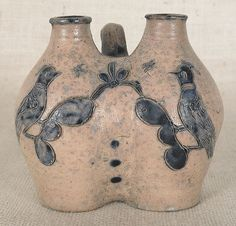 """New York or Connecticut stoneware gemel jug, ca. 1800, with incised cobalt love birds, 5 1/4"""" h. A related example was sold at Crocker Farm on October 31, 2009."""