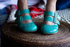 turquoise double-strap mary janes