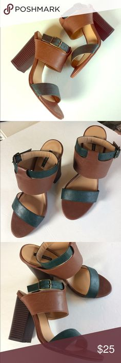 """Ankle Strap Heels Perfect everyday heels! Worn once, straps are a bit too big on my foot. Great condition, minimal signs of wear on outsole. 4"""" heel, tan and Forrest green color. Forever 21 Shoes Heels"""