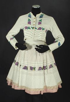 Czech Folk Costume from Moravia Embroidered Apron Blouse Skirt Polka Dot Kroj