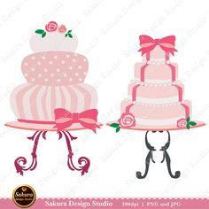 Wedding Cakes Pink Digital Scrapbook Paper Clipart, Paper Crafts, Cards