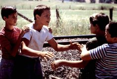 STAND BY ME, Wil Wheaton, River Phoenix, Corey Feldman, Jerry O'Connell, 1986 | Essential Film Stars, River Phoenix http://gay-themed-films.com/river-phoenix/