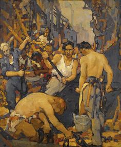 Walter S. Lauderback (American, 1887-1941) Construction workers - oil on canvas - 76,2 x 64,1cm.