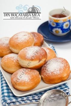 From my kitchen: fluffy Donuts Romanian Desserts, Romanian Food, Romanian Recipes, Good Food, Yummy Food, Food Wishes, Sicilian Recipes, Pastry And Bakery, Sweet Pastries