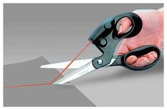 Laser scissor that projects a cutting line.  For me the person who can't cut a straight line