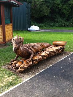 Dragon Bench by Tommy Cragg  Fishburn Primary School Chainsaw log carving