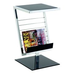 Mia end table with magazine rack in black glass - 1912 magazine storage rack & side end table, for modern living room & contemporary office. Modern Magazine Racks, Wooden Magazine Rack, Magazine Wall, Magazine Storage, Sofa Side Table, Side Table With Storage, Wooden Side Table, Modern Contemporary Living Room, Contemporary Side Tables