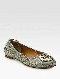 Tory Burch Reva Dorothy Crocodile-Print Leather Ballet Flats