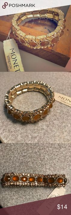 Monet golden topaz look stretchy bracelet Sparkly, somewhat heavy stretchy bracelet. Golden tones, topaz look. Would look beautiful with black, white, chocolate brown outfits. Monet Jewelry Bracelets