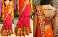 Vibrant Half n Half Designer Saree ~ Celebrity Sarees, Designer Sarees, Bridal Sarees, Latest Blouse Designs 2014