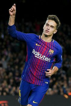 Denis Suarez of FC Barcelona celebrates after scoring his team s fourth  goal during the Copa del Rey round of 32 second leg match between FC  Barcelona and ... 39fdd2b6b