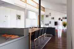 Spacey House MJ That Fuses with Nature: Ethnic Pattern Carpet Stylish Black Side Chairs Contemporary Fireplace Inspiring  Modern Kitchen Countertop ~ dickoatts.com Wood House Designs Inspiration