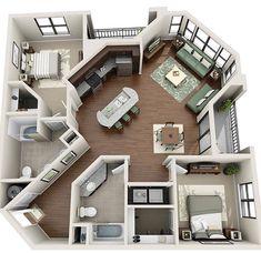 Sims House Plans, House Floor Plans, Apartment Floor Plans, Simple Floor Plans, Sims 4 House Building, Small House Plans, 4 Bedroom Apartments, Two Bedroom Tiny House, Casas The Sims 4