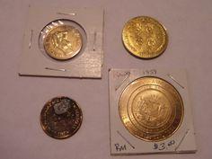 4 LOT MIX HEADS I WIN TOKEN, BEATLES 1964 COIN, MADAME HENDREN, HAWAII 1959 COIN
