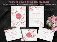 Flowery Wedding Invitation Templates PSD | Buy and Download: http://graphicriver.net/item/flowery-wedding-invitation/7819681?WT.ac=category_thumb&WT.z_author=kavutpal&ref=ksioks