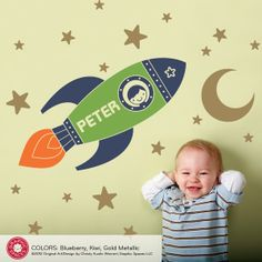Rocket Boy Wall Decal is perfect for an outer space theme nursery or kid's room. Removable vinyl appliqué rocketship. personalized rocket ship wall art.