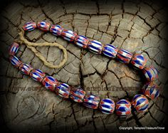 Vintage Red White and Blue Venetian Style 6 Layer Rosette Chevron Trade Beads Necklace Imported from Kathmandu by TemplesTreasureTrove